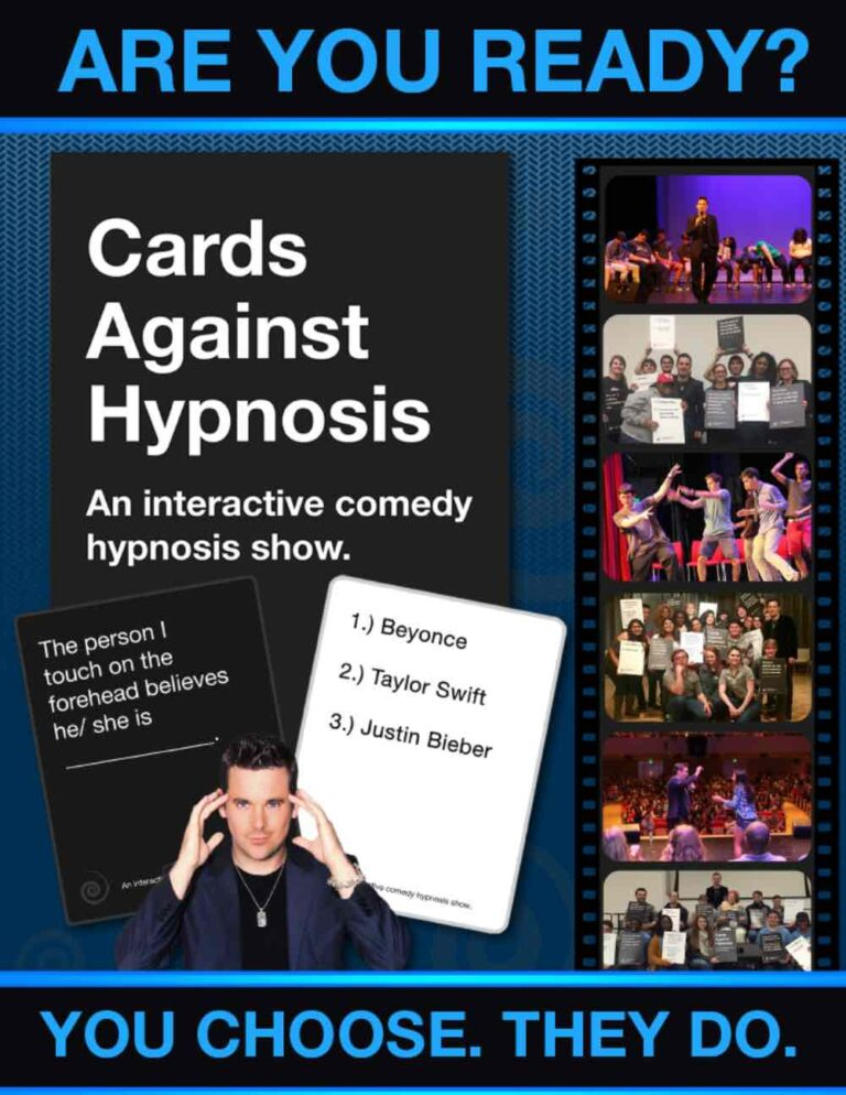 cards against hypnosis show flyer