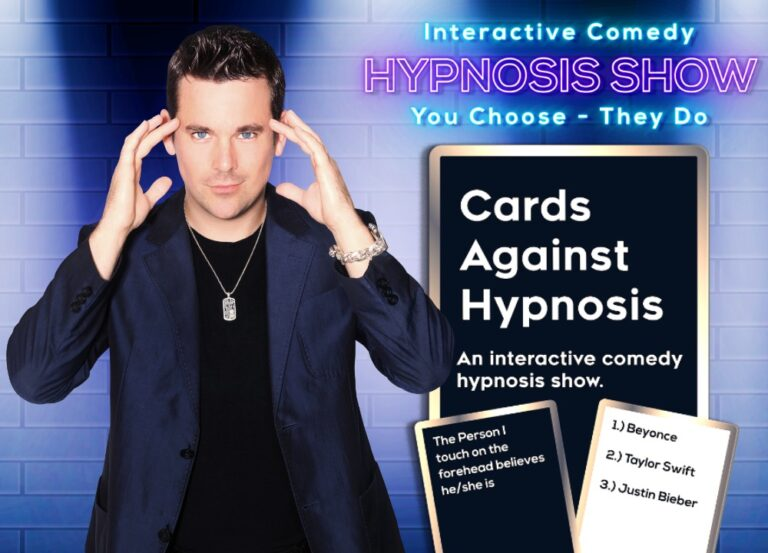 cards against hypnosis show with comedy hypnotist david hall